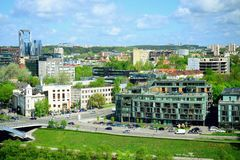 View to the Vilnius city from Gediminas castle hill Stock Photos