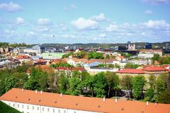 View to the Vilnius city from Gediminas castle hill Stock Photography