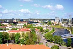 View to the Vilnius city from Gediminas castle hill Royalty Free Stock Images