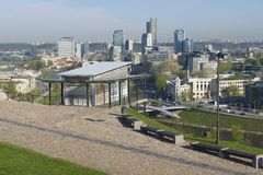 View to the Vilnius city from the Gediminas hill with the funicular upper station at the foreground in Vilnius, Lithuania. Stock Photography