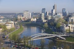 View to the Vilnius city and Neris river early in the morning from Gediminas hill in Vilnius, Lithuania. Stock Images