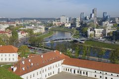 View to the Vilnius city and Neris river from Gediminas hill in Vilnius, Lithuania. Royalty Free Stock Photography