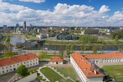 View to the Vilnius city and Neris river from Gediminas hill in Vilnius, Lithuania. Stock Photos