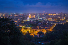 Vilnius Old Town. View to the Vilnius Old Town from the Upper Castle stock photos