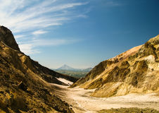 View to Viluchinsky volcano from the caldera of Mutnovsky, Kamchatka Royalty Free Stock Images