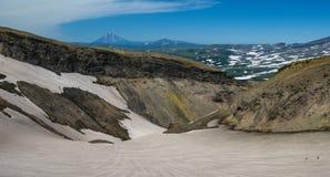 View to Viluchinsky volcano from caldera Mutnovsky, Kamchatka peninsula Russia Stock Image
