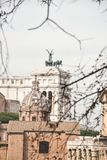A view to Vittoriano from Roman Forum stock image