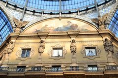View to Vittorio Emanuele Gallery ceiling internal decoration in Milan. Royalty Free Stock Photos