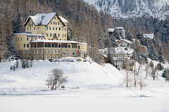 View to the Waldhaus am See hotel in Saint Moritz, Switzerland. Stock Image