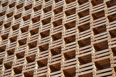A view to wall made of cases for thermal insulation. Royalty Free Stock Images
