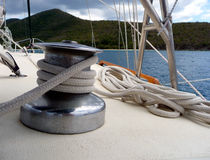 View to water over sailboat deck and rope Royalty Free Stock Images