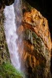 View to waterfalls of Monasterio de Piedra from the cave, Zarago Stock Photography