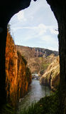 View to waterfalls of Monasterio de Piedra from the cave, Zarago Stock Photography