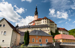A view to Weesenstein Castle from the town Royalty Free Stock Photos