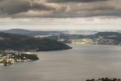 View to the west across Bergen from Fløyen Mountain