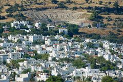 View to the white residential area buildings and ancient amphitheatre in Bodrum, Turkey. royalty free stock photography