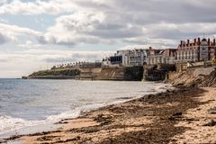 A view to Whitley Bay town and its coastline from the beach, England. Great Britain Stock Photo