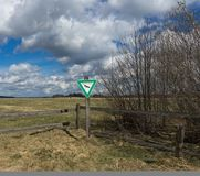 View to wildlife sancturay sign of the german area called Rhoen Stock Photos