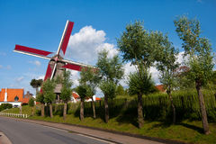 View to the windmill, Knokke, Belgium Stock Images