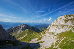 View to the world's steepest cogwheel railway and Swiss Alps fro Royalty Free Stock Images