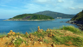 View to Yanui Beach and Koh Kaeo Noi on Phuket island, Andaman Sea in South Thailand. Royalty Free Stock Photography