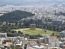 View to Zeus temple. With the Olympic stadium in the background stock images