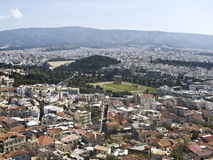 View to Zeus temple with the Olympic stadium in th Royalty Free Stock Images