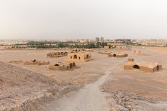 View to the Zoroastrian temples ruins and Yazd city Royalty Free Stock Photo