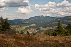 View to Zuberec village with Osobita peak in Western Tatras mountains Stock Photos