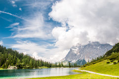 View to Zugspitze mountain from Seeben lake Stock Image