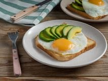 Toasts bread with fried eggs, avocado and cucumber slices on wooden table with fork and knife. View of Toasts bread with fried eggs, avocado and cucumber slices stock photo