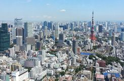 View  of Tokyo from above. View of Tokyo and Tokyo Tower from above Royalty Free Stock Photos