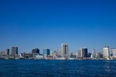 View of Tokyo Bay, Japan. Cityscape of Tokyo Bay, Japan. The Tokyo Bay region is both the most populous and largest industrialized area in Japan Stock Photo