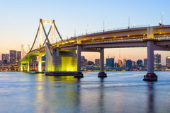 View of Tokyo Bay and Rainbow Bridge at Evening Stock Image