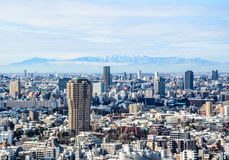 View of Tokyo city in winter from Tokyo tower Royalty Free Stock Photos
