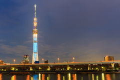 View of Tokyo Sky Tree (634m) at night, the highest free-standin Stock Photo