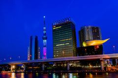 View of Tokyo skyline from Sumida river Stock Images