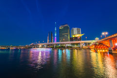 View of Tokyo skyline from Sumida river Stock Photography