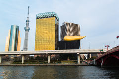 View of Tokyo skyline from Sumida river Royalty Free Stock Photography