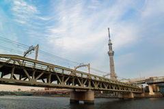 View of Tokyo skyline from Sumida river Royalty Free Stock Images