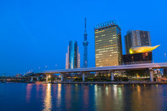 View of Tokyo skyline from Sumida river Royalty Free Stock Image