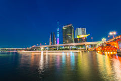 View of Tokyo skyline from Sumida river Stock Photos