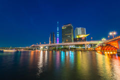 View of Tokyo skyline from Sumida river Royalty Free Stock Photo