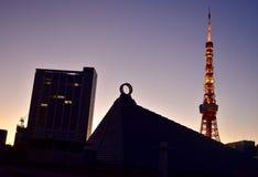 View Tokyo Tower Japan Reiyukai. View Tokyo Tower Japan at morning sunrise stock photo