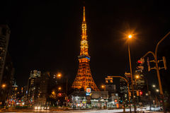 View of Tokyo tower at night Stock Photos