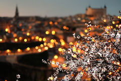View of Toledo with almond blossom, Spain. A beautiful panorama of the Spanish city of Toledo with almond blossom, Spain, at dusk. The flowers are in focus, the Stock Photography