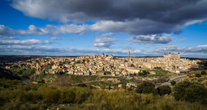 View of Toledo from the opposite bank of the river Tajo, Castill Royalty Free Stock Image