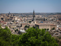 View of Toledo from the opposite bank of the river Tajo, Castill Stock Image
