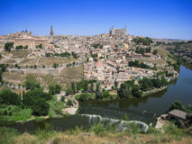View of Toledo from the opposite bank of the river Tajo, Castill Stock Photos