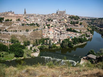 View of Toledo from the opposite bank of the river Tajo, Castill Royalty Free Stock Photography